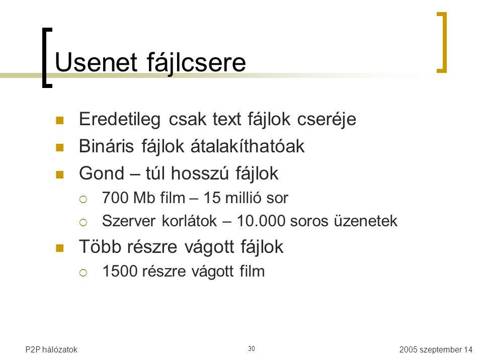2005 szeptember 14P2P hálózatok 30 Usenet fájlcsere Eredetileg csak text fájlok cseréje Bináris fájlok átalakíthatóak Gond – túl hosszú fájlok  700 Mb film – 15 millió sor  Szerver korlátok – 10.000 soros üzenetek Több részre vágott fájlok  1500 részre vágott film