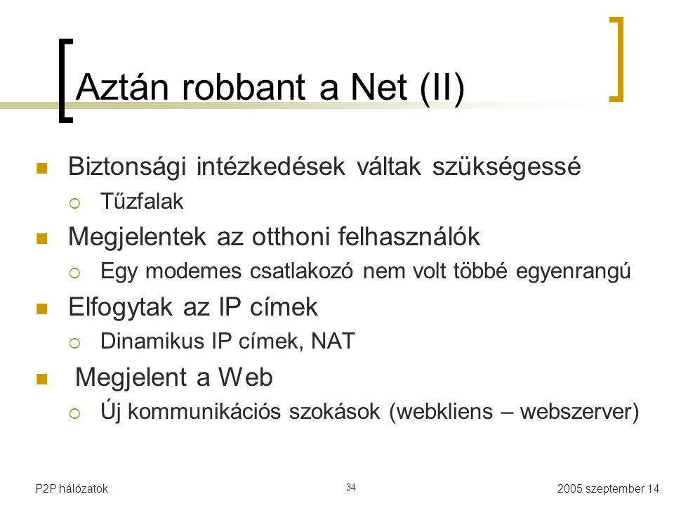 2005 szeptember 14P2P hálózatok 34 Aztán robbant a Net (II) Biztonsági intézkedések váltak szükségessé  Tűzfalak Megjelentek az otthoni felhasználók  Egy modemes csatlakozó nem volt többé egyenrangú Elfogytak az IP címek  Dinamikus IP címek, NAT Megjelent a Web  Új kommunikációs szokások (webkliens – webszerver)
