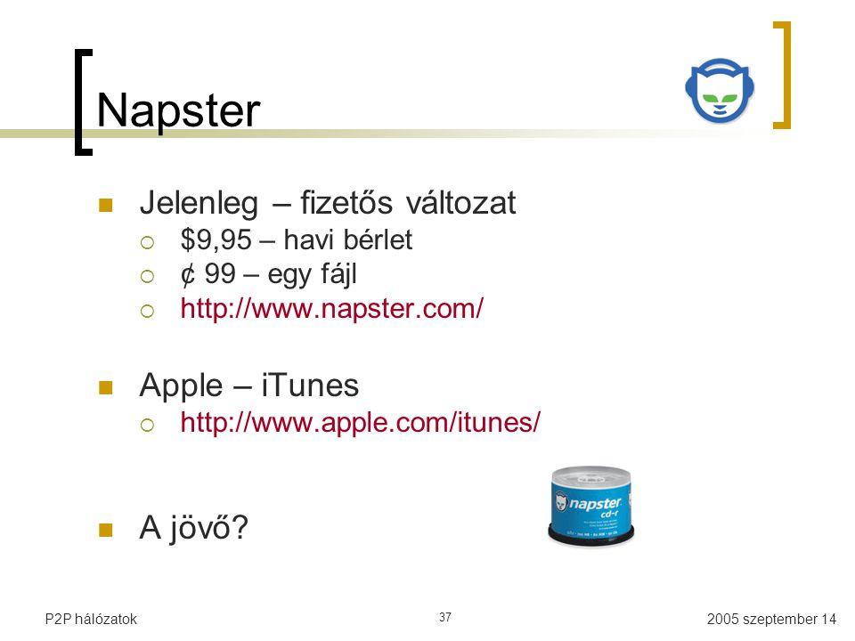 2005 szeptember 14P2P hálózatok 37 Napster Jelenleg – fizetős változat  $9,95 – havi bérlet  ¢ 99 – egy fájl  http://www.napster.com/ Apple – iTunes  http://www.apple.com/itunes/ A jövő?