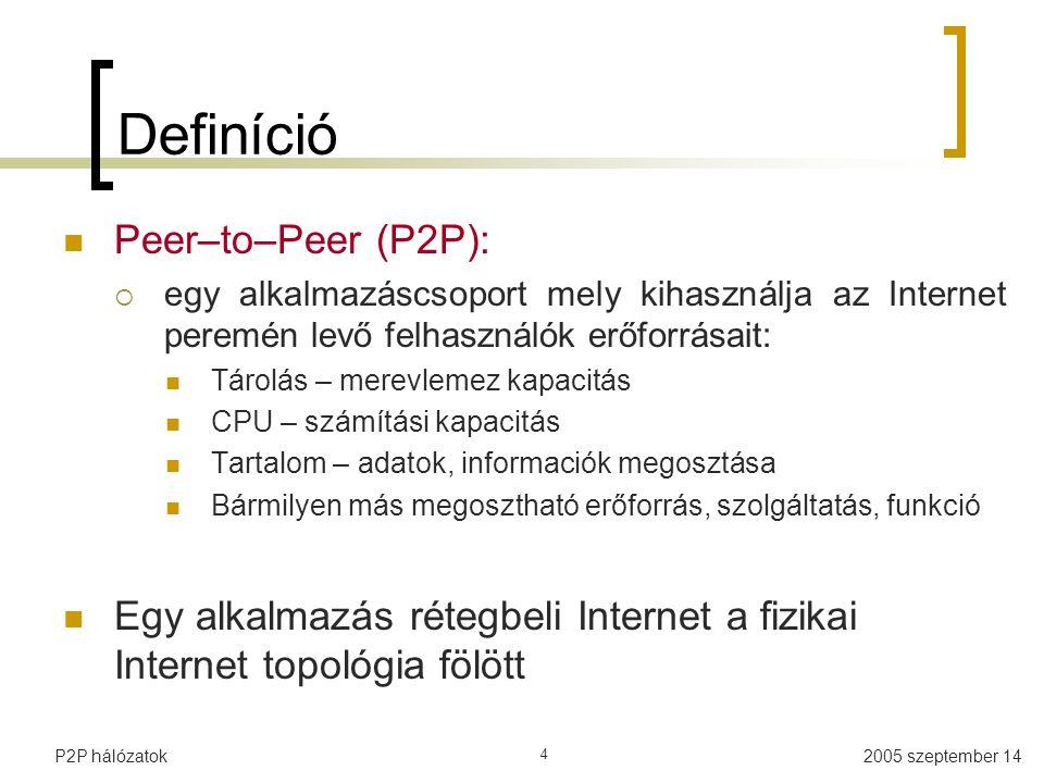 """2005 szeptember 14P2P hálózatok 5 Definíció (II) """"Peer-to-peer network = egyenrangú hálózat  """"Peer = veled egyenrangú felhasználó """"Kommunista rendszer – mindenki egyenlő  Néha van azért aki """"egyenlöbb A kliens-szerver architektúra ellentéte"""