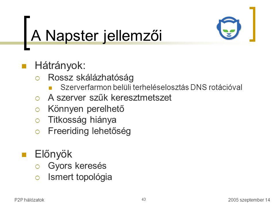 2005 szeptember 14P2P hálózatok 43 A Napster jellemzői Hátrányok:  Rossz skálázhatóság Szerverfarmon belüli terheléselosztás DNS rotációval  A szerv