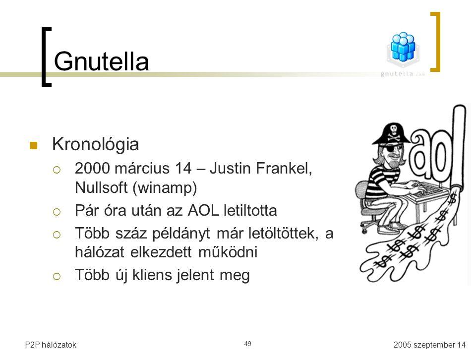 2005 szeptember 14P2P hálózatok 49 Gnutella Kronológia  2000 március 14 – Justin Frankel, Nullsoft (winamp)  Pár óra után az AOL letiltotta  Több s