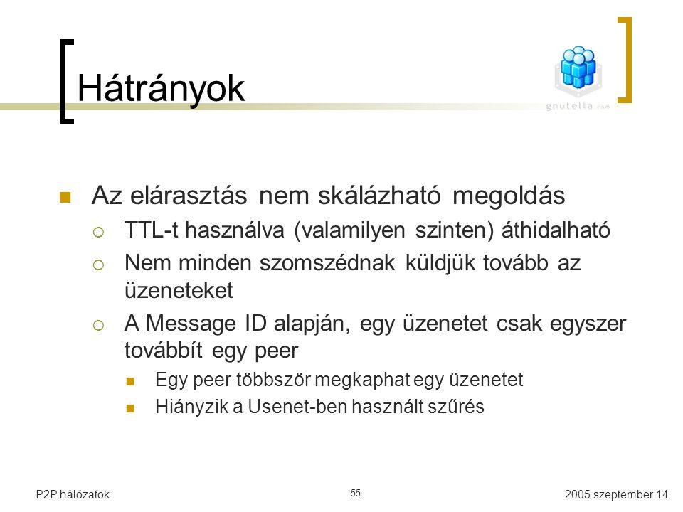 2005 szeptember 14P2P hálózatok 55 Hátrányok Az elárasztás nem skálázható megoldás  TTL-t használva (valamilyen szinten) áthidalható  Nem minden szo