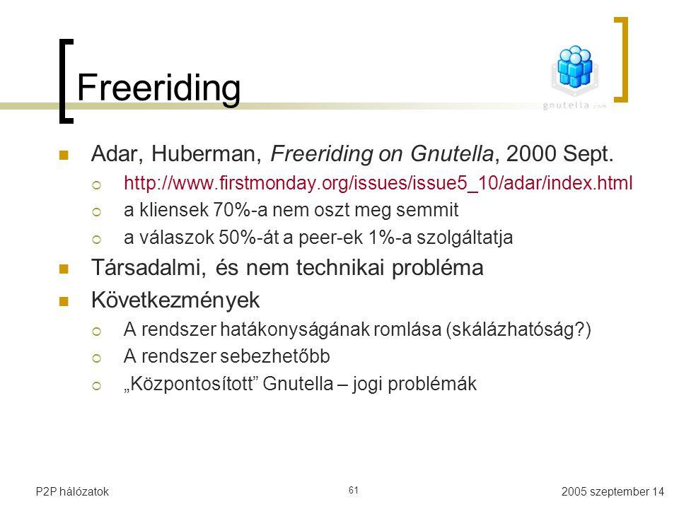 2005 szeptember 14P2P hálózatok 61 Freeriding Adar, Huberman, Freeriding on Gnutella, 2000 Sept.  http://www.firstmonday.org/issues/issue5_10/adar/in