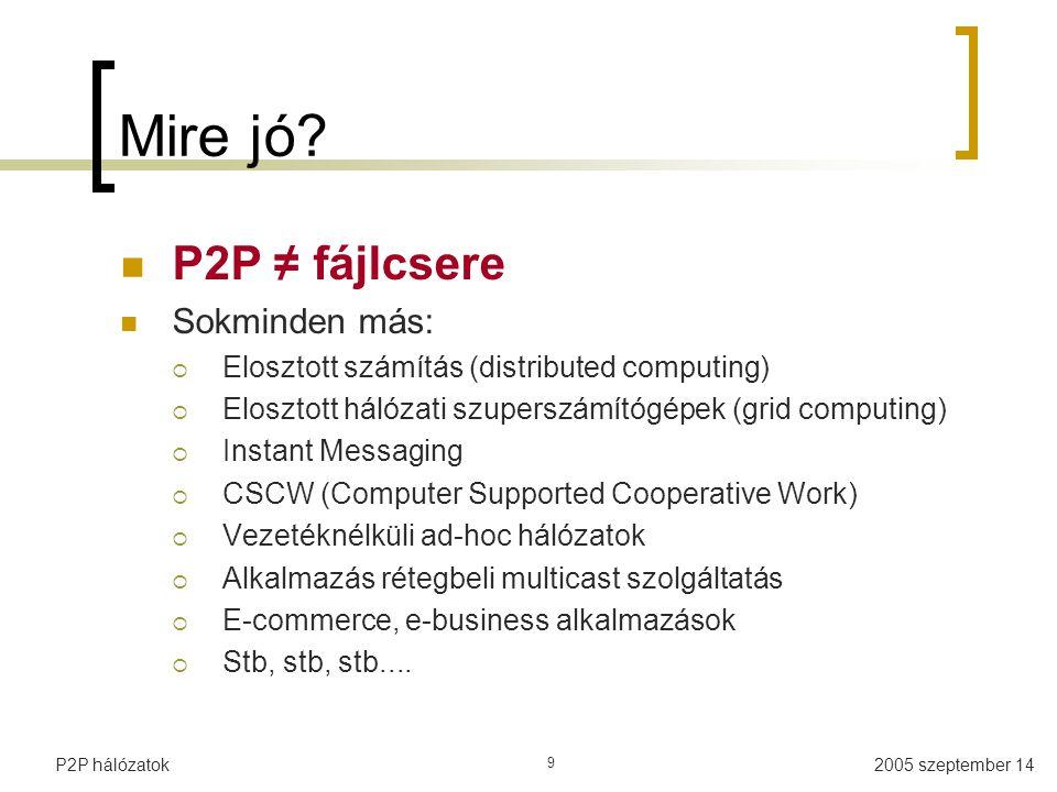 2005 szeptember 14P2P hálózatok 9 Mire jó? P2P ≠ fájlcsere Sokminden más:  Elosztott számítás (distributed computing)  Elosztott hálózati szuperszám