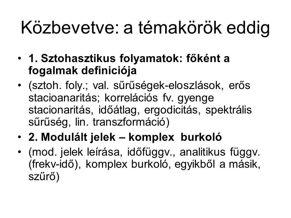 Közbevetve: a témakörök eddig 1. Sztohasztikus folyamatok: főként a fogalmak definiciója (sztoh.