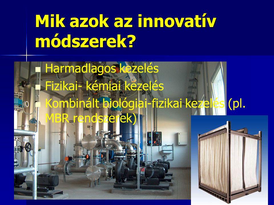 Mik azok az innovatív módszerek? Harmadlagos kezelés Fizikai- kémiai kezelés Kombinált biológiai-fizikai kezelés (pl. MBR rendszerek)