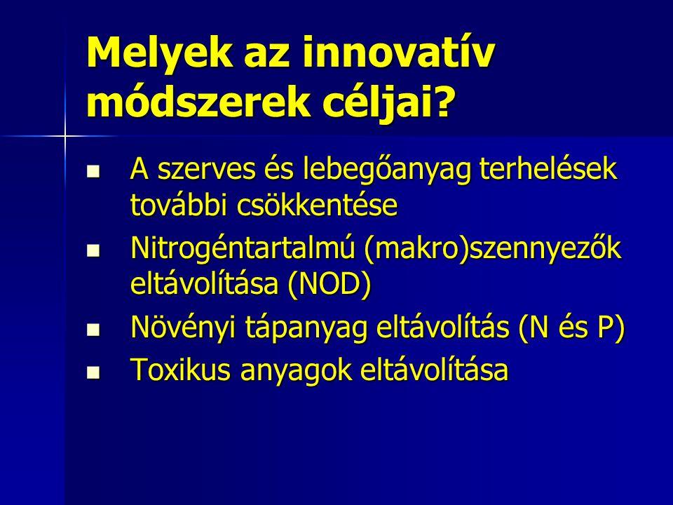 Melyek az innovatív módszerek céljai? A szerves és lebegőanyag terhelések további csökkentése A szerves és lebegőanyag terhelések további csökkentése