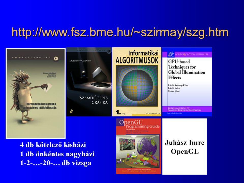 http://www.fsz.bme.hu/~szirmay/szg.htm 4 db kötelező kisházi 1 db önkéntes nagyházi 1-2-…-20-… db vizsga Juhász Imre OpenGL