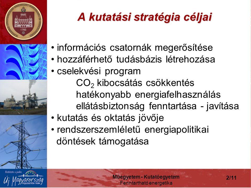 Műegyetem - Kutatóegyetem Fenntartható energetika 2/11 A kutatási stratégia céljai információs csatornák megerősítése hozzáférhető tudásbázis létrehozása cselekvési program CO 2 kibocsátás csökkentés hatékonyabb energiafelhasználás ellátásbiztonság fenntartása - javítása kutatás és oktatás jövője rendszerszemléletű energiapolitikai döntések támogatása