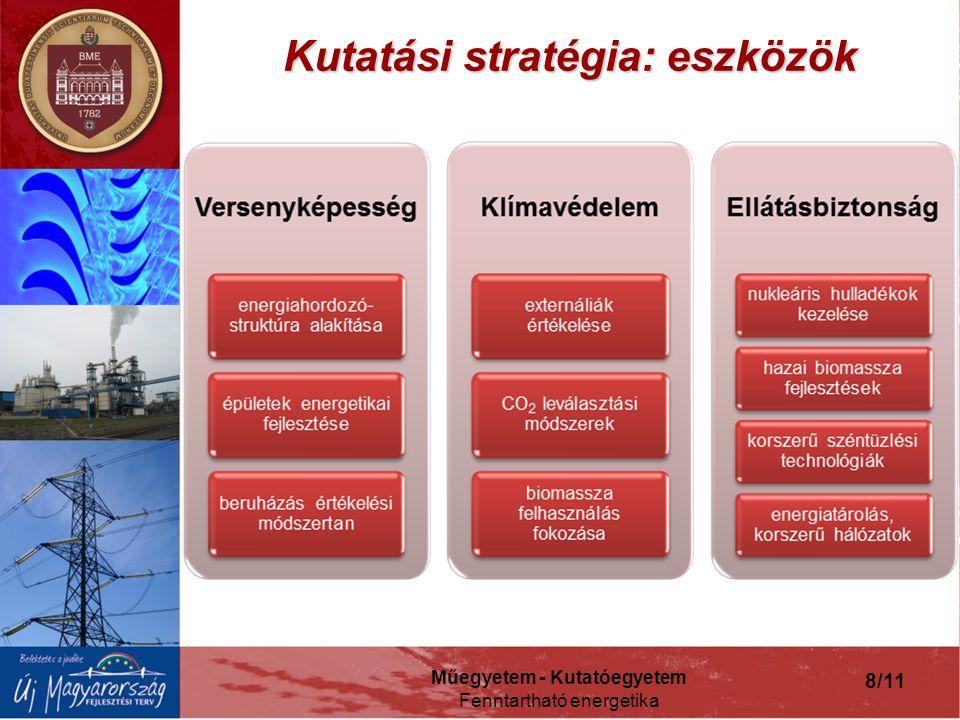 Műegyetem - Kutatóegyetem Fenntartható energetika 8/11 Kutatási stratégia: eszközök