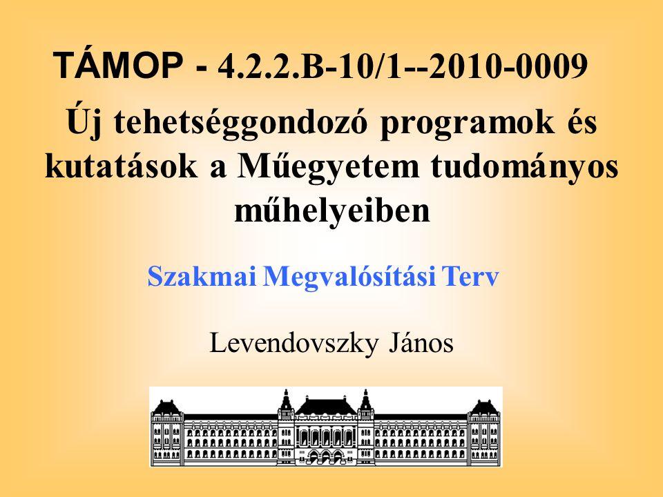 Levendovszky János TÁMOP - 4.2.2.B-10/1--2010-0009 Új tehetséggondozó programok és kutatások a Műegyetem tudományos műhelyeiben Szakmai Megvalósítási Terv