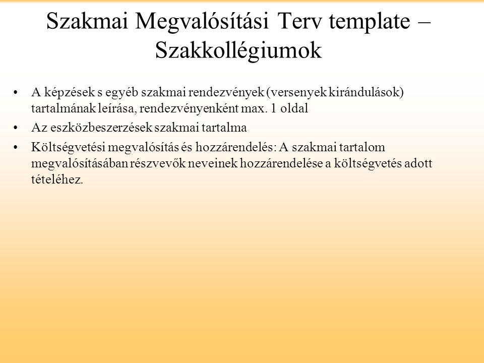 Szakmai Megvalósítási Terv template – Szakkollégiumok A képzések s egyéb szakmai rendezvények (versenyek kirándulások) tartalmának leírása, rendezvényenként max.