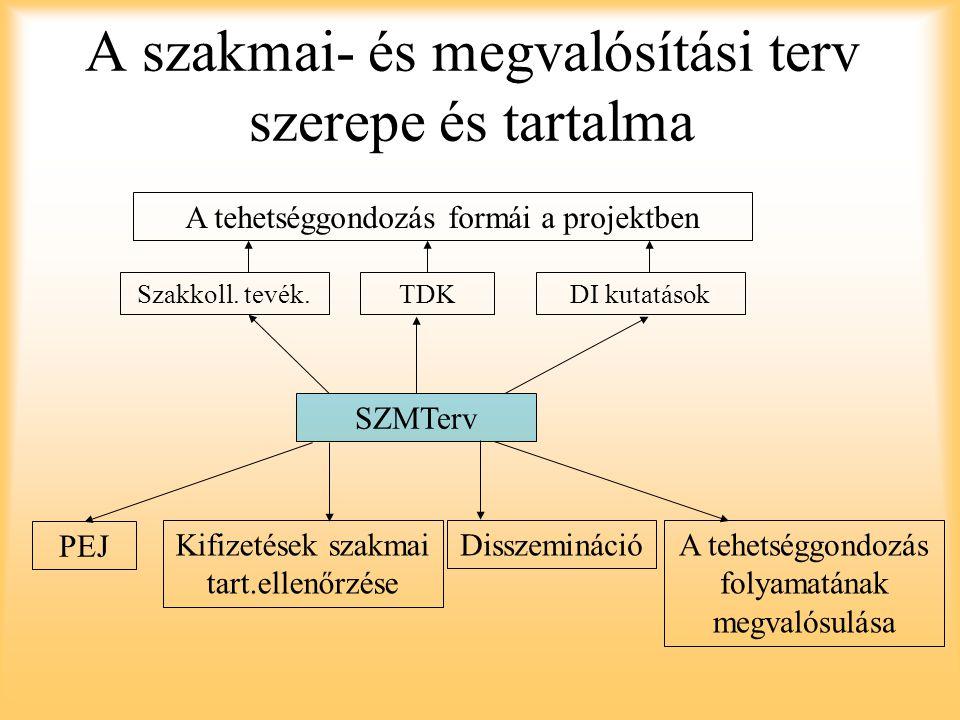 A szakmai- és megvalósítási terv szerepe és tartalma SZMTerv A tehetséggondozás formái a projektben Szakkoll.