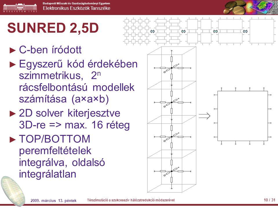 Budapesti Műszaki és Gazdaságtudományi Egyetem Elektronikus Eszközök Tanszéke SUNRED 2,5D ► C-ben íródott ► Egyszerű kód érdekében szimmetrikus, 2 n r