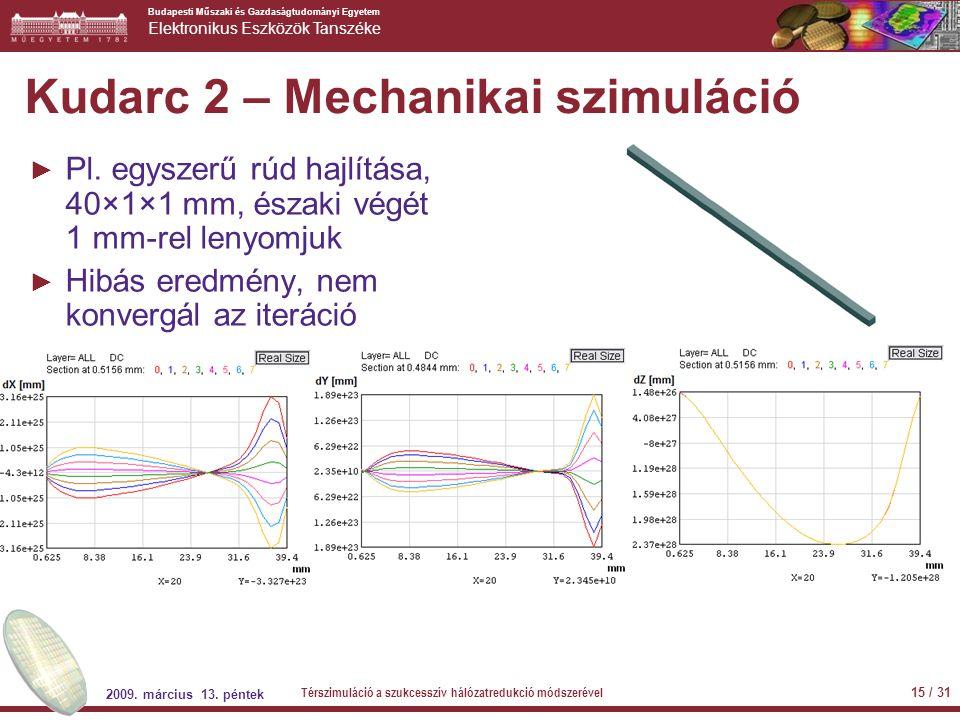 Budapesti Műszaki és Gazdaságtudományi Egyetem Elektronikus Eszközök Tanszéke Kudarc 2 – Mechanikai szimuláció ► Pl. egyszerű rúd hajlítása, 40×1×1 mm
