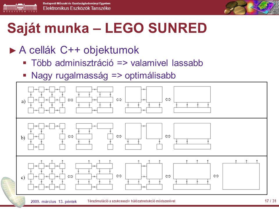 Budapesti Műszaki és Gazdaságtudományi Egyetem Elektronikus Eszközök Tanszéke Saját munka – LEGO SUNRED ► A cellák C++ objektumok  Több adminisztráci