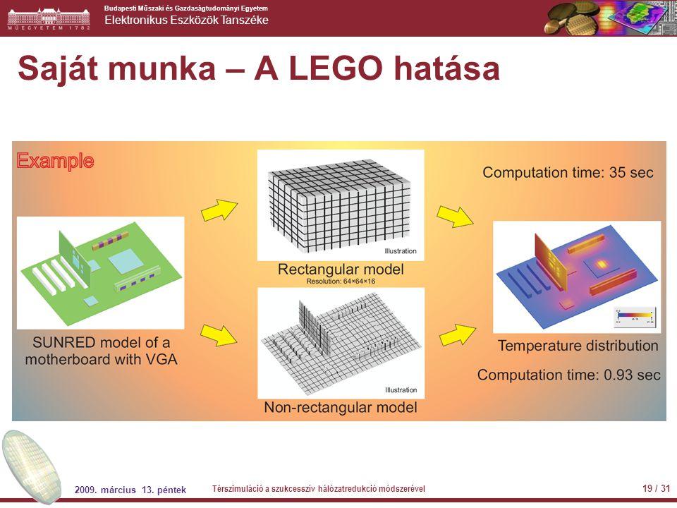 Budapesti Műszaki és Gazdaságtudományi Egyetem Elektronikus Eszközök Tanszéke Saját munka – A LEGO hatása 2009. március 13. péntek Térszimuláció a szu
