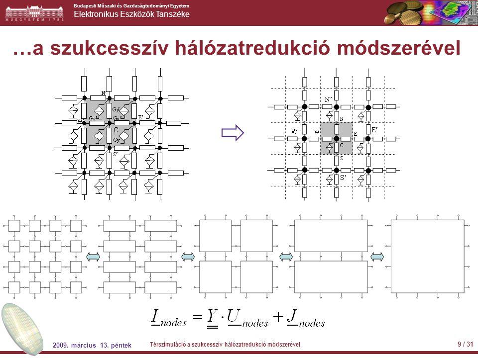 Budapesti Műszaki és Gazdaságtudományi Egyetem Elektronikus Eszközök Tanszéke 2009. március 13. péntek Térszimuláció a szukcesszív hálózatredukció mód