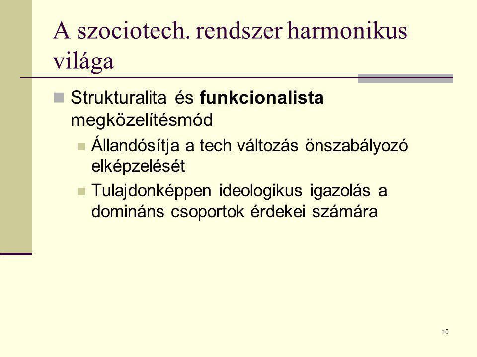 10 A szociotech. rendszer harmonikus világa Strukturalita és funkcionalista megközelítésmód Állandósítja a tech változás önszabályozó elképzelését Tul