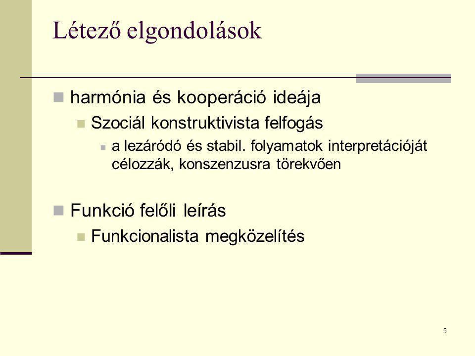 5 Létező elgondolások harmónia és kooperáció ideája Szociál konstruktivista felfogás a lezáródó és stabil. folyamatok interpretációját célozzák, konsz