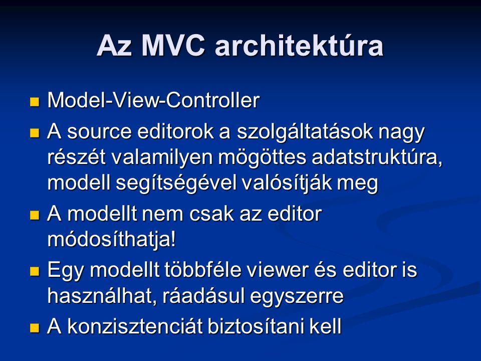 Az MVC architektúra Model-View-Controller Model-View-Controller A source editorok a szolgáltatások nagy részét valamilyen mögöttes adatstruktúra, mode