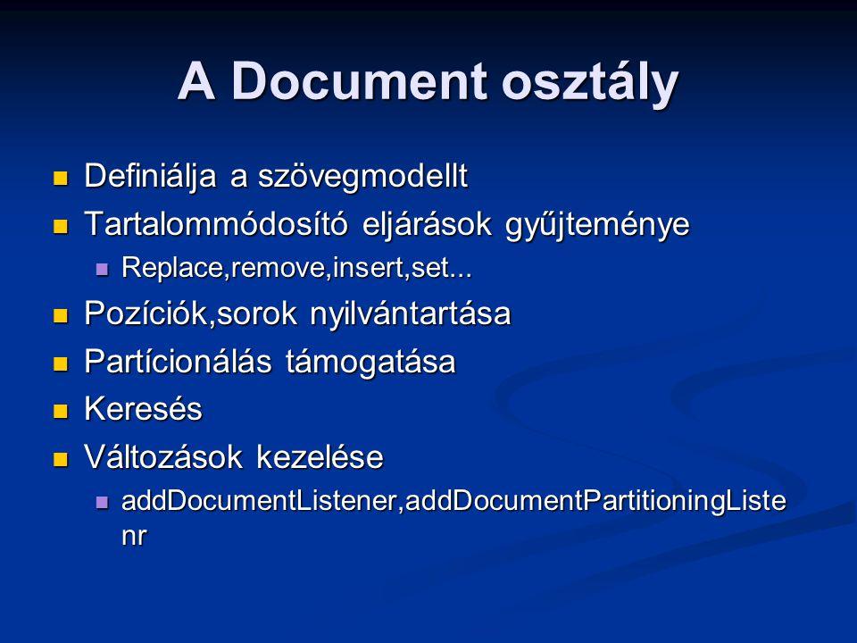A Document osztály Definiálja a szövegmodellt Definiálja a szövegmodellt Tartalommódosító eljárások gyűjteménye Tartalommódosító eljárások gyűjteménye