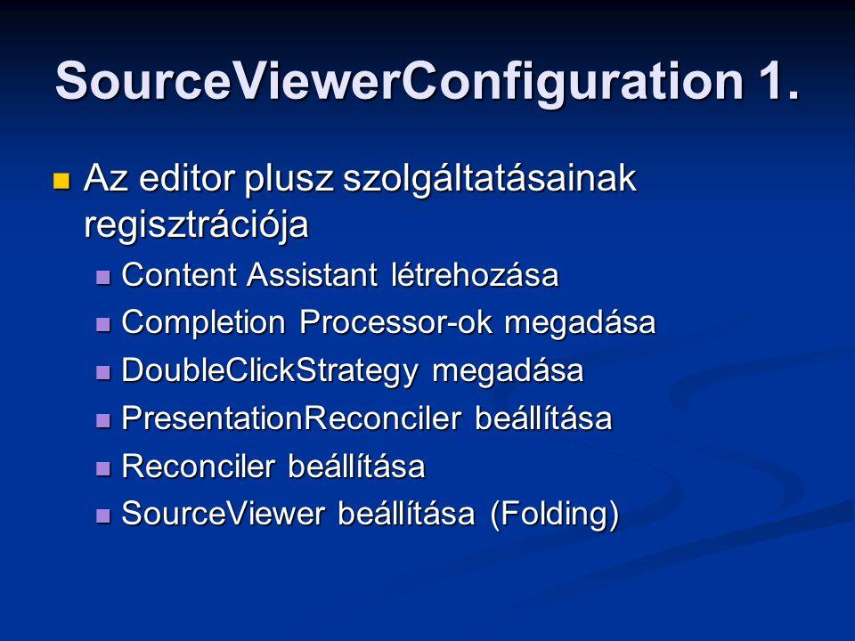 SourceViewerConfiguration 1. Az editor plusz szolgáltatásainak regisztrációja Az editor plusz szolgáltatásainak regisztrációja Content Assistant létre