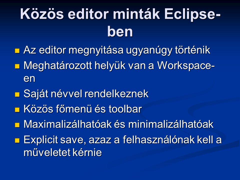 Közös editor minták Eclipse- ben Az editor megnyitása ugyanúgy történik Az editor megnyitása ugyanúgy történik Meghatározott helyük van a Workspace- e