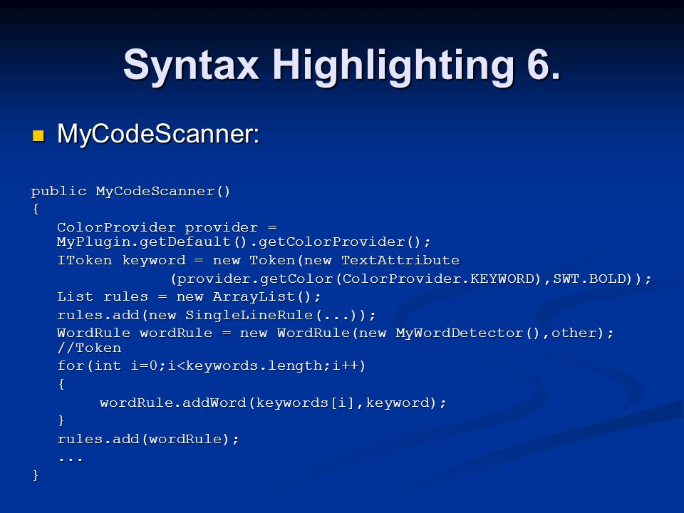 Syntax Highlighting 6.