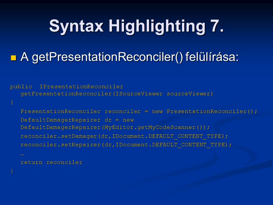 Syntax Highlighting 7.