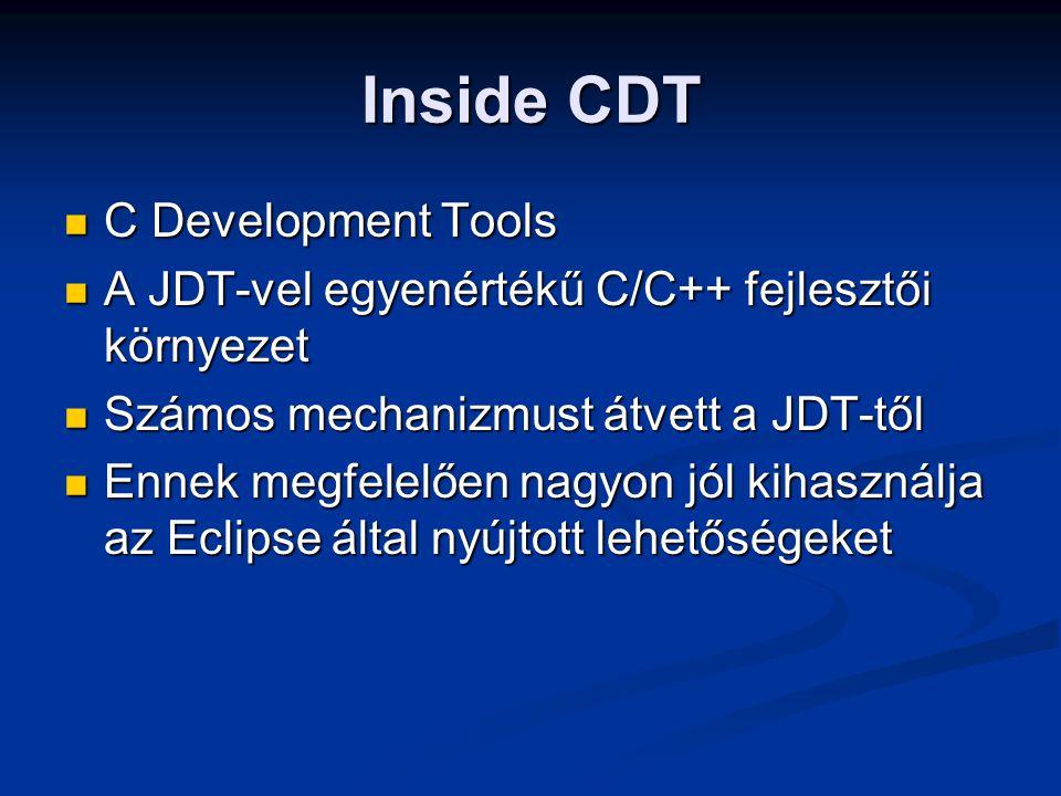 Inside CDT C Development Tools C Development Tools A JDT-vel egyenértékű C/C++ fejlesztői környezet A JDT-vel egyenértékű C/C++ fejlesztői környezet S