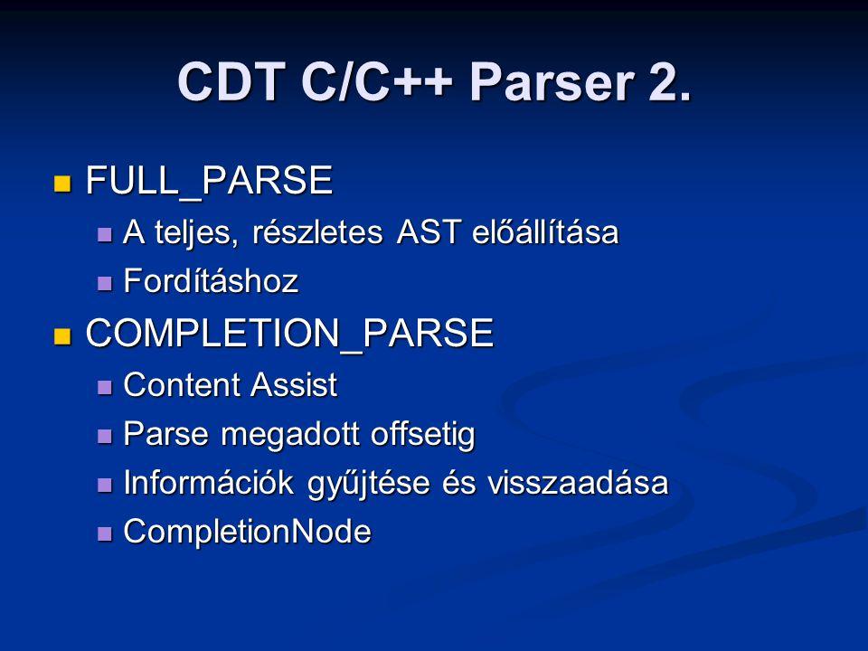 CDT C/C++ Parser 2. FULL_PARSE FULL_PARSE A teljes, részletes AST előállítása A teljes, részletes AST előállítása Fordításhoz Fordításhoz COMPLETION_P