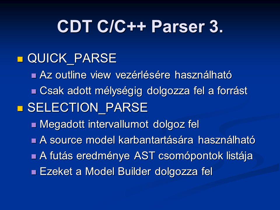 CDT C/C++ Parser 3. QUICK_PARSE QUICK_PARSE Az outline view vezérlésére használható Az outline view vezérlésére használható Csak adott mélységig dolgo