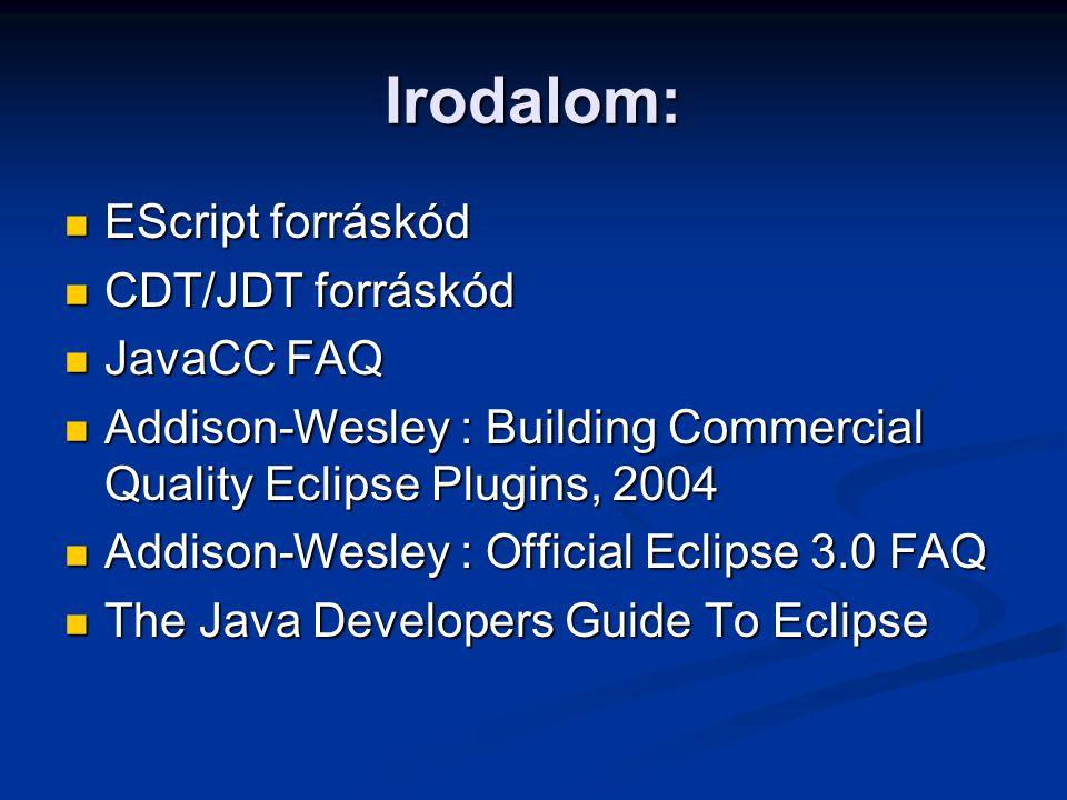 Irodalom: EScript forráskód EScript forráskód CDT/JDT forráskód CDT/JDT forráskód JavaCC FAQ JavaCC FAQ Addison-Wesley : Building Commercial Quality E