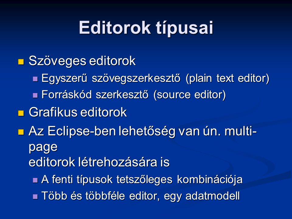 Editorok típusai Szöveges editorok Szöveges editorok Egyszerű szövegszerkesztő (plain text editor) Egyszerű szövegszerkesztő (plain text editor) Forrá