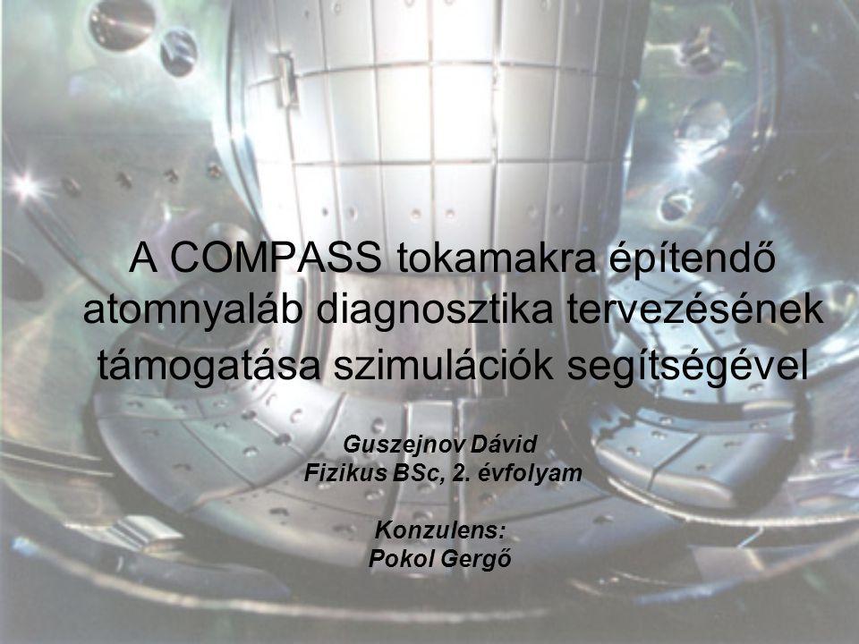 A COMPASS tokamakra építendő atomnyaláb diagnosztika tervezésének támogatása szimulációk segítségével Guszejnov Dávid Fizikus BSc, 2. évfolyam Konzule