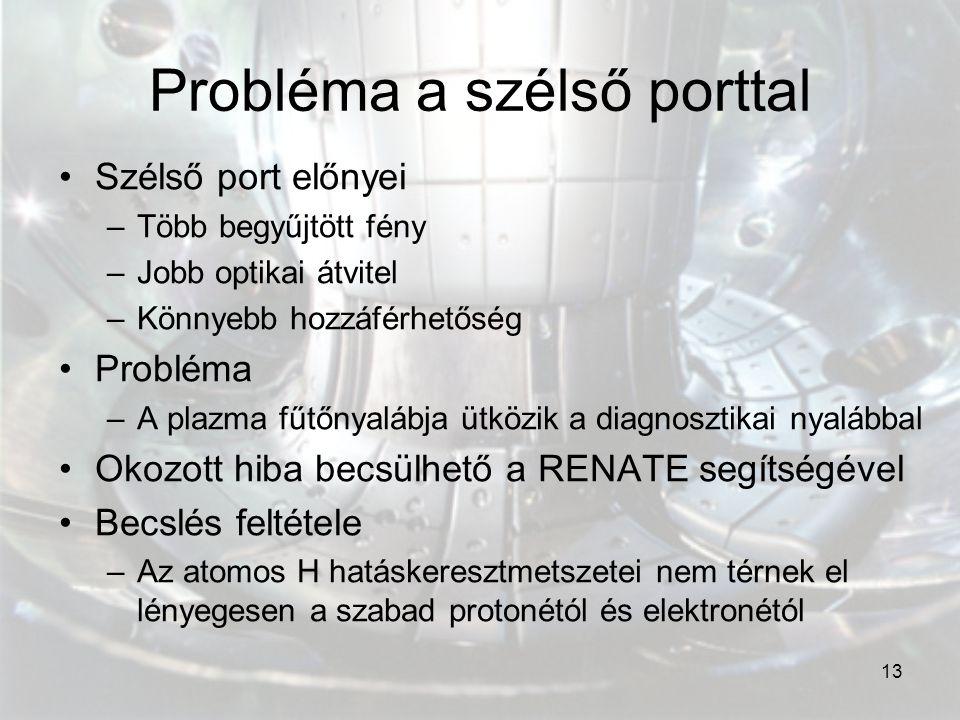 13 Probléma a szélső porttal Szélső port előnyei –Több begyűjtött fény –Jobb optikai átvitel –Könnyebb hozzáférhetőség Probléma –A plazma fűtőnyalábja