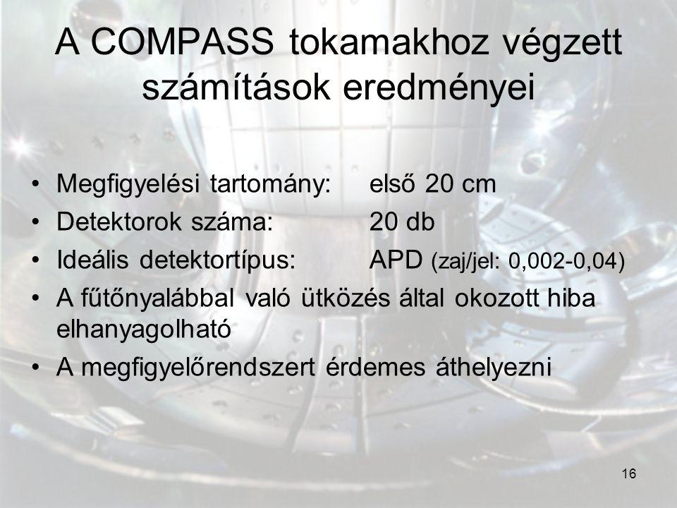 16 A COMPASS tokamakhoz végzett számítások eredményei Megfigyelési tartomány: első 20 cm Detektorok száma: 20 db Ideális detektortípus: APD (zaj/jel: