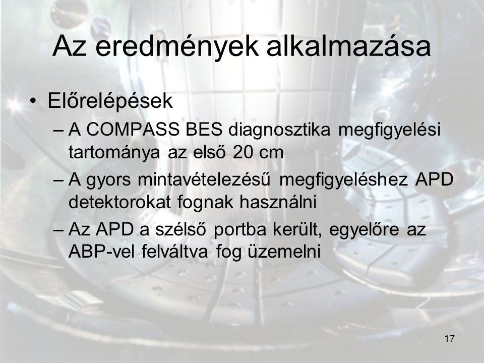 17 Az eredmények alkalmazása Előrelépések –A COMPASS BES diagnosztika megfigyelési tartománya az első 20 cm –A gyors mintavételezésű megfigyeléshez AP