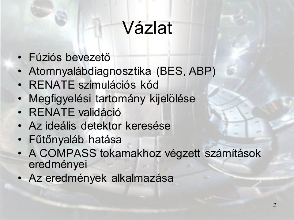 2 Vázlat Fúziós bevezető Atomnyalábdiagnosztika (BES, ABP) RENATE szimulációs kód Megfigyelési tartomány kijelölése RENATE validáció Az ideális detekt