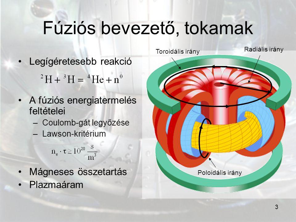 3 Fúziós bevezető, tokamak Legígéretesebb reakció A fúziós energiatermelés feltételei –Coulomb-gát legyőzése –Lawson-kritérium Mágneses összetartás Pl