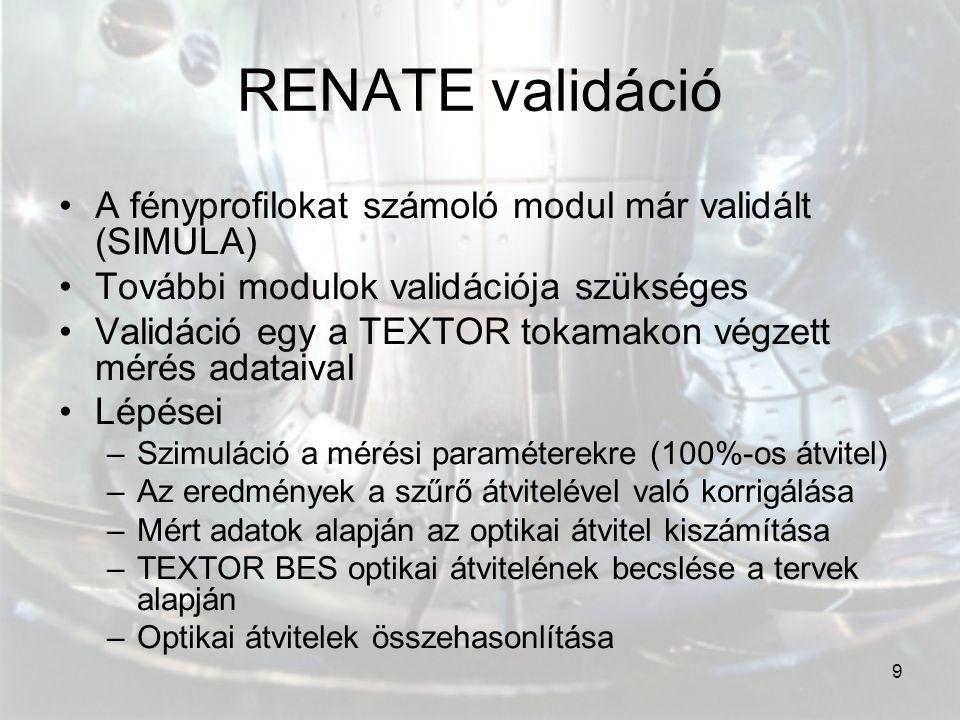 9 RENATE validáció A fényprofilokat számoló modul már validált (SIMULA) További modulok validációja szükséges Validáció egy a TEXTOR tokamakon végzett