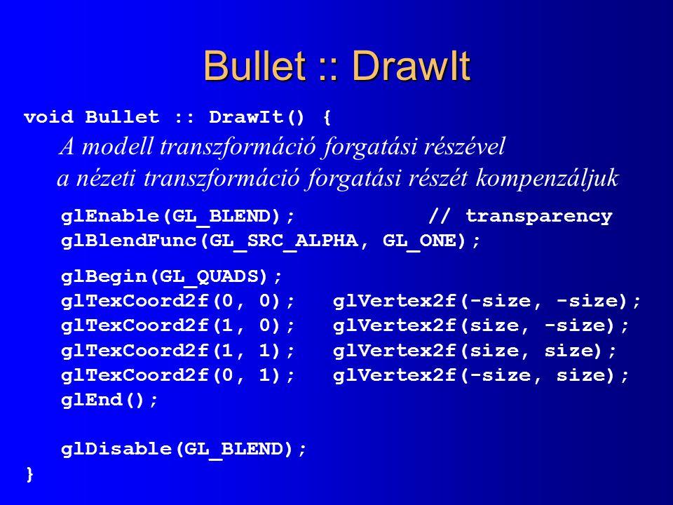 Bullet :: DrawIt void Bullet :: DrawIt() { A modell transzformáció forgatási részével a nézeti transzformáció forgatási részét kompenzáljuk glEnable(G