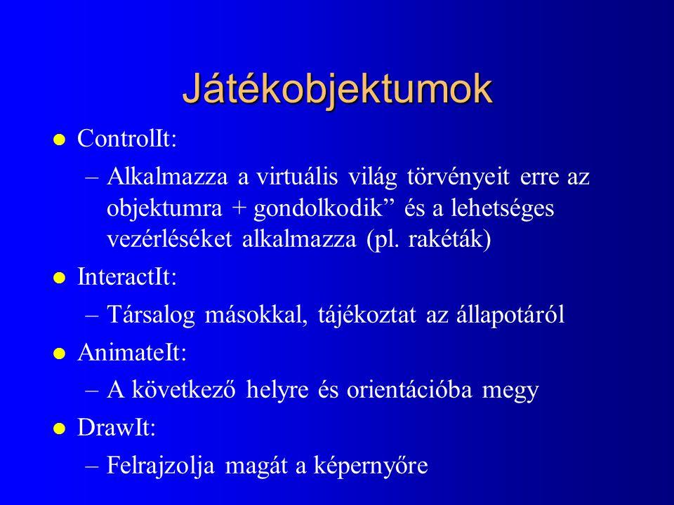 """Játékobjektumok l ControlIt: –Alkalmazza a virtuális világ törvényeit erre az objektumra + gondolkodik"""" és a lehetséges vezérléséket alkalmazza (pl. r"""
