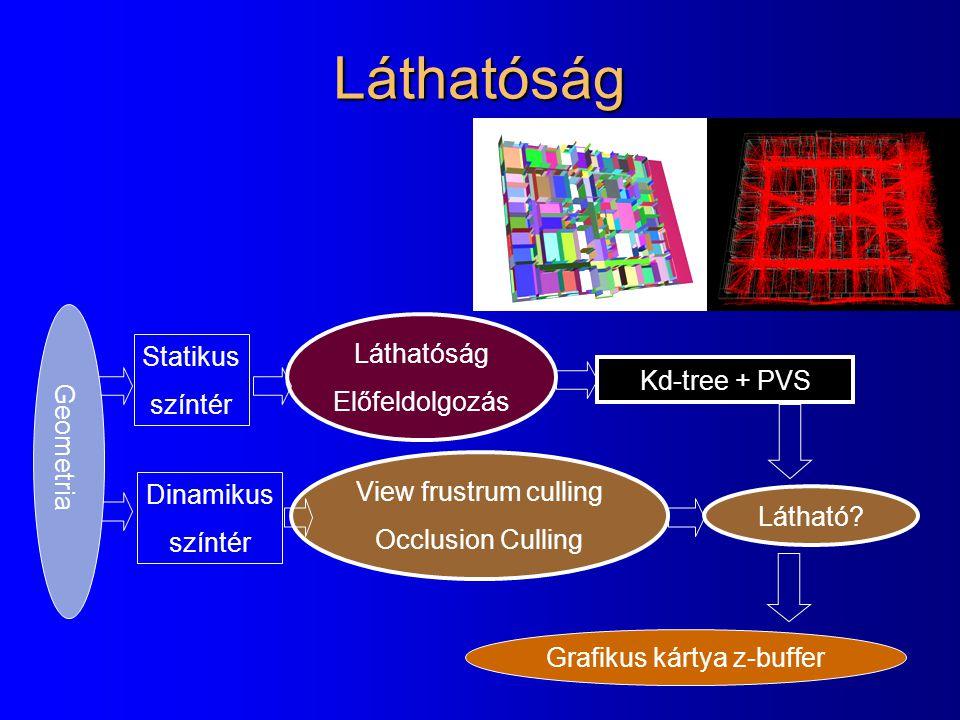 Statikus színtér Dinamikus színtér Geometria Láthatóság Előfeldolgozás Kd-tree + PVS View frustrum culling Occlusion Culling Grafikus kártya z-buffer