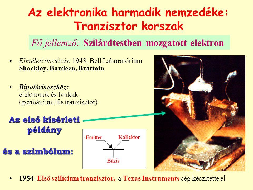 Az elektronika harmadik nemzedéke: Tranzisztor korszak Elméleti tisztázás: 1948, Bell Laboratórium Shockley, Bardeen, Brattain Bipoláris eszköz: elektronok és lyukak (germánium tűs tranzisztor) 1954: Első szilícium tranzisztor, a Texas Instruments cég készítette el Az első kísérleti példány és a szimbólum: Fő jellemző: Szilárdtestben mozgatott elektron