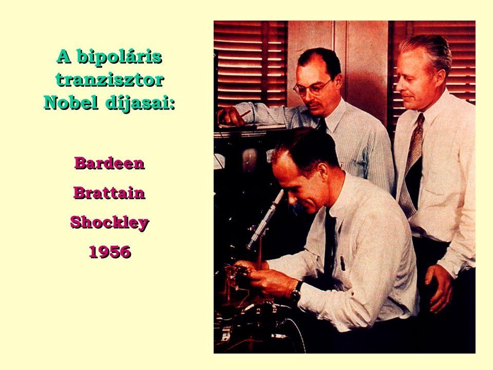 A bipoláris tranzisztor Nobel díjasai: Bardeen Brattain Shockley 1956 A bipoláris tranzisztor Nobel díjasai: Bardeen Brattain Shockley 1956