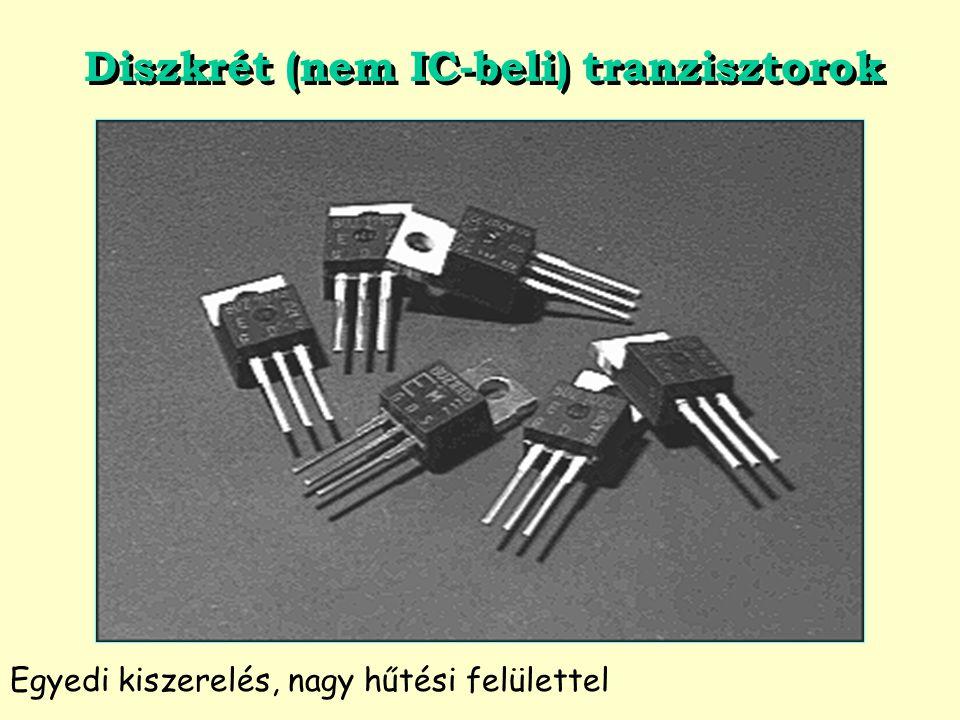Diszkrét (nem IC-beli) tranzisztorok Egyedi kiszerelés, nagy hűtési felülettel