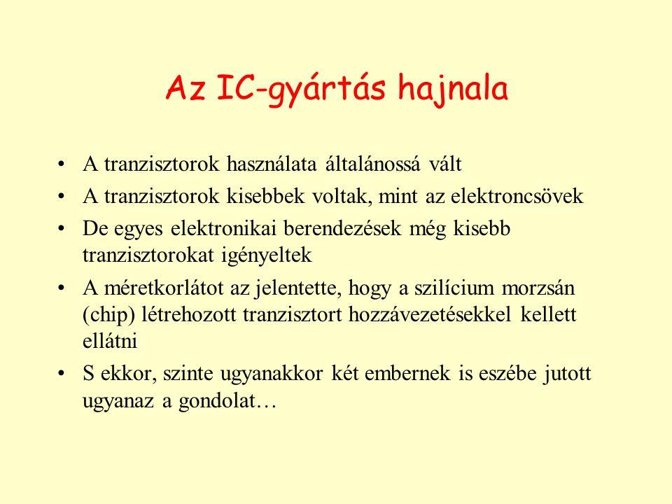 Az IC-gyártás hajnala A tranzisztorok használata általánossá vált A tranzisztorok kisebbek voltak, mint az elektroncsövek De egyes elektronikai berend